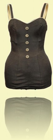 Women's one-piece  swimming costume c1950. <br>Manly Art Gallery & Museum++