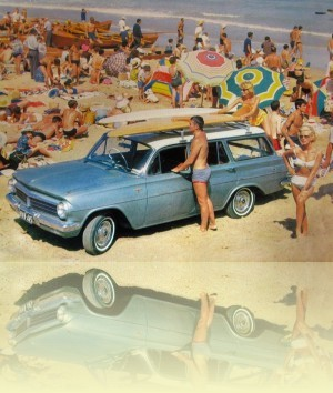 EH Holden Station Wagon advertisement 1st World Surfboard Titles program, 1964<br/> Courtesy Manly Library and GM Holden Ltd ++