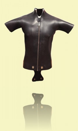 Scuba-diving wetsuit with 'beaver tail' Early 1960s Courtesy Geoff Cater++