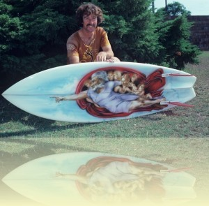 Jim Parkinson (shaper) with a Michelangelo Surfboard design, Tim Vanderlaan, March 1979. <br>Courtesy and © Tim Vanderlaan++