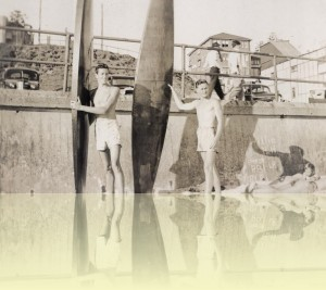 Barry 'Magoo' McGuigan and friend at Bondi, photographer unknown, c1950s. Courtesy Barry McGuigan++