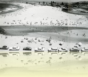 Typical summer weekend landscape at North Narrabeen, Jeff Carter, from Surf beaches of Australia's east coast by Jeff Carter, published by Angus & Robertson, 1968.<br/> © Estate of Jeff Carter++