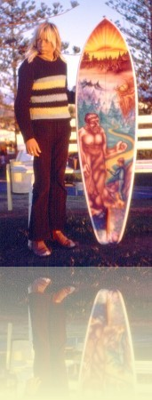 Point Land. Dale Egan with Shane Egan airbrush board at Snapper Rocks Shane Egan, 1973<br/>Courtesy and © Shane Egan ++