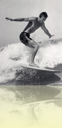 Barry 'Magoo' McGuigan on a wave, photographer unknown, c1950s. Courtesy Barry McGuigan++