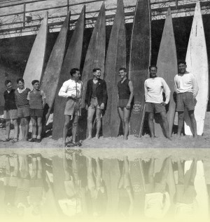 Manly surfboards and barbed wire, photographer unknown, c1945. Manly Library++