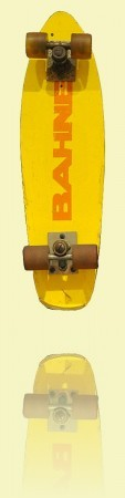 Yellow Bahne superflex skateboard Bahne, 1974–80. Mick Mock Collection++