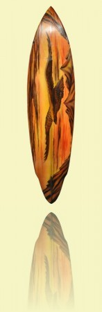 Winged pin with eagle design Hot Buttered, Brookvale, 1972, foam, fibreglass and resin  <br>Mick Mock Collection++