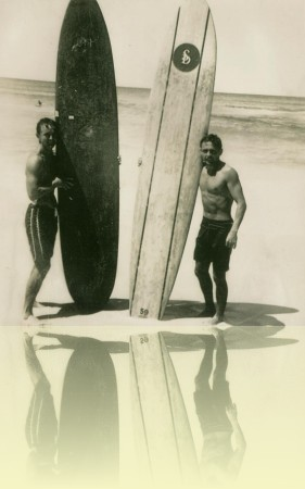 Barry 'Magoo' McGuigan and Scott Dillon at Bondi Beach, photographer unknown, late 1950s. Courtesy Barry McGuigan++
