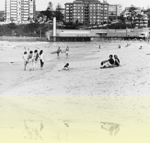 Beachgoers, South Steyne, L Nelson, 1967. Mitchell Library, State Library of New South Wales: PXA 907 Box 25 no 73. © Tourism NSW++