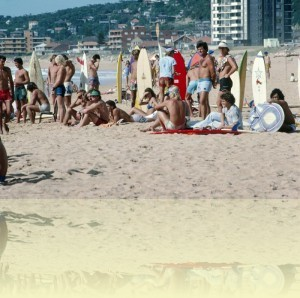 Surfboard riders on Collaroy Beach, photographer unknown, 1979. National Archives of Australia: A6135, K2/7/79/14.<br/> © Commonwealth of Australia++