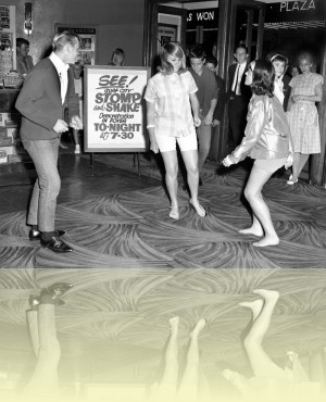 Dancers demonstrating the Stomp and Shake at the Victory Theatre, Sydney, Ern McQuillan, 28 Feb 1964.<br/>National Library of Australia. © Ern McQuillan++