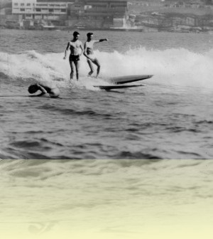 John Falkner and friend at Bondi, photographer unknown, 1948. Courtesy Lorraine Coan++