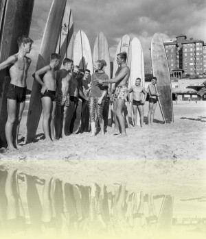 Surfboard riders on Manly Beach, John Tanner, 1958. National Archive of Australia: A1200, L26853. © Commonwealth of Australia++