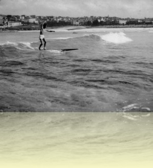 John Falkner riding toothpick at Bondi, photographer unknown, 1948.++