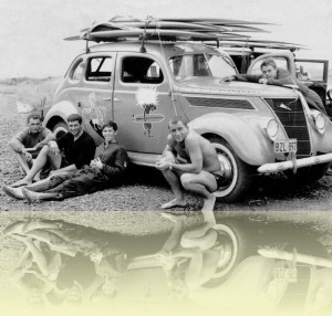 1937 Ford with boards and boys, Baba Looey, 1960s.<br/>Courtesy Australian Surf Museum, Manly Life Saving Club. © Baba Looey++